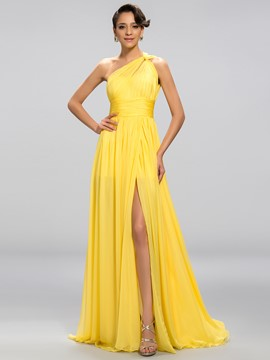 sexy a-line One-Shoulder-Split vorne bodenlangen Abendkleid