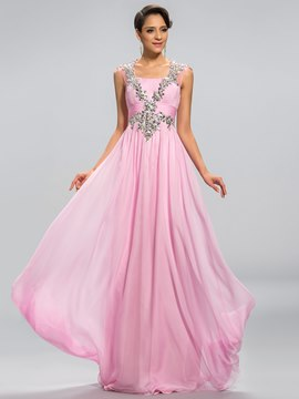 Pretty A-Line Square Neck Beading Hollow-Out Back Prom Dress