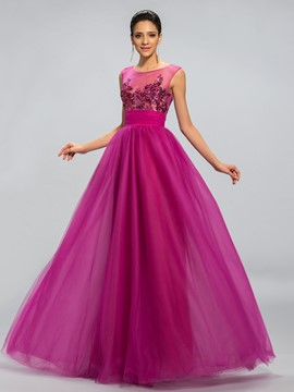 Pailletten Applikationen eine Linie lange Ballkleid