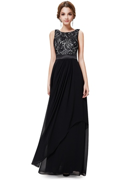 Vintage Scoop Neck Sleeveless Lace Bodice Evening Dress