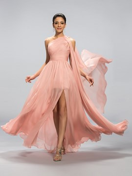 Classy One-Shoulder Split-Front Pleats Evening Dress