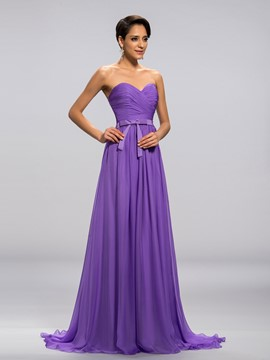 Sweetheart Ruched Bowknot A-Line Long Prom Dress