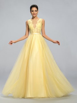 Strapless Sexy Back Floor Length Evening Dress