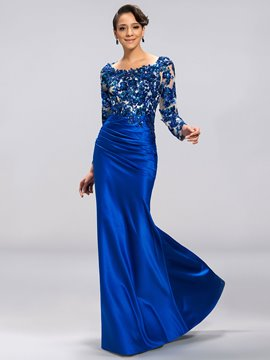 Classy Scoop Long Sleeves Appliques Backless Evening Dress