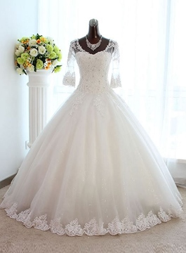 Vintage Scoop Appliques Floor Length Wedding Dress with Sleeves