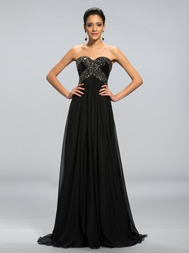 Classy A-line Sweetheart Beaded Floor-Length Evening Dress