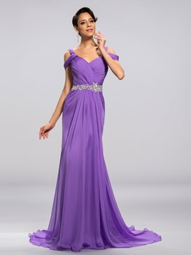 V-Neck Straps Ruflles Sweep-Train Long Evening Dress