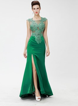 Sleeveless Front-Split Sheer Appliques Evening Dress