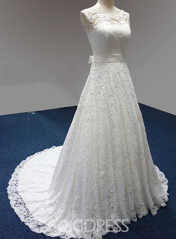 Concise Scoop Lace-up Court Train Lace Wedding Dress
