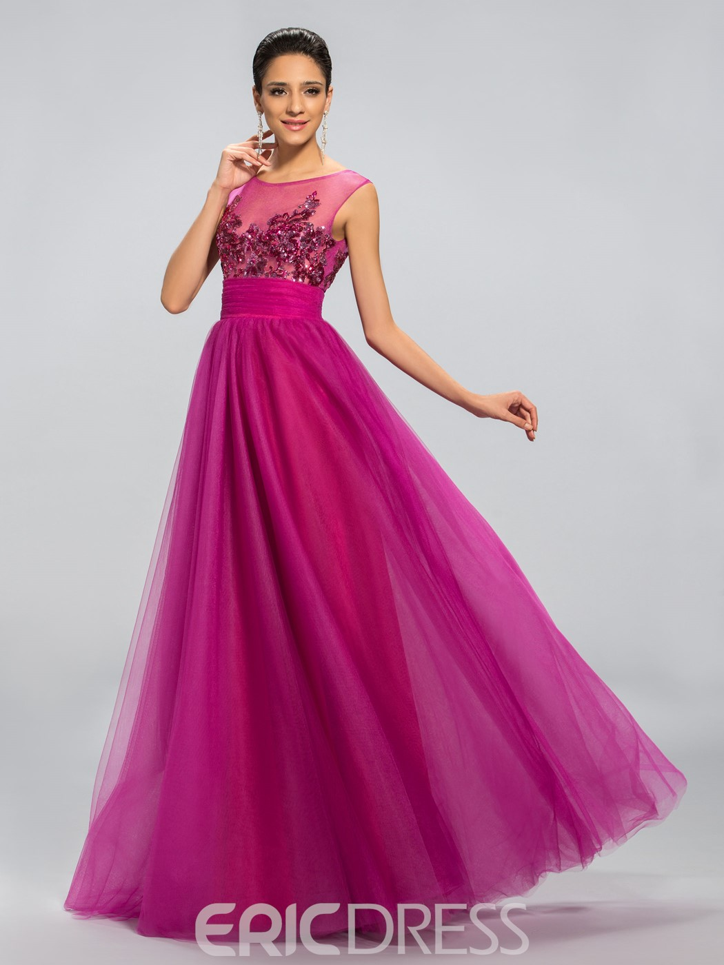 Sequins Appliques A Line Long Prom Dress