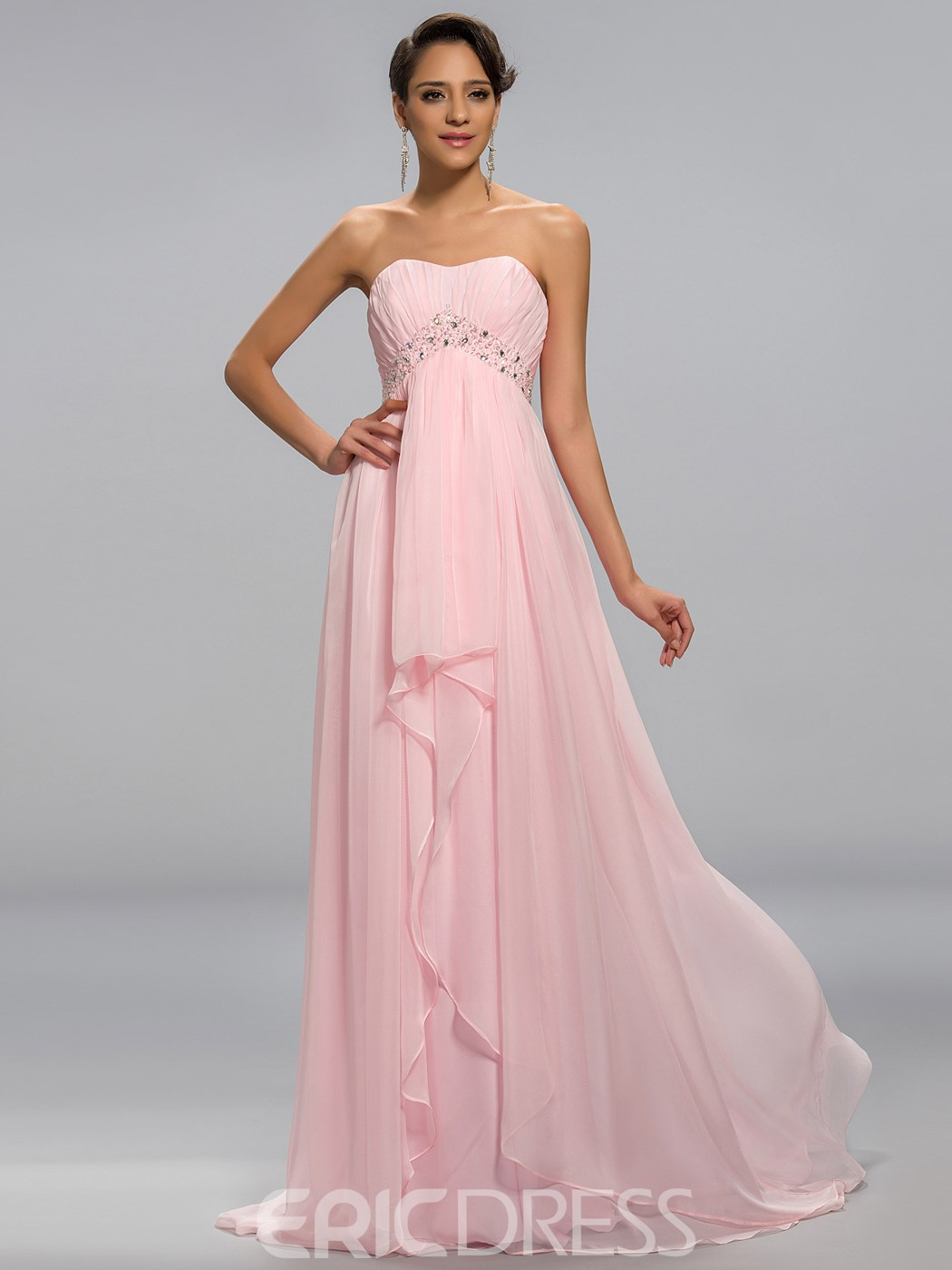 Concise Strapless Beaded Floor Length Prom Dress