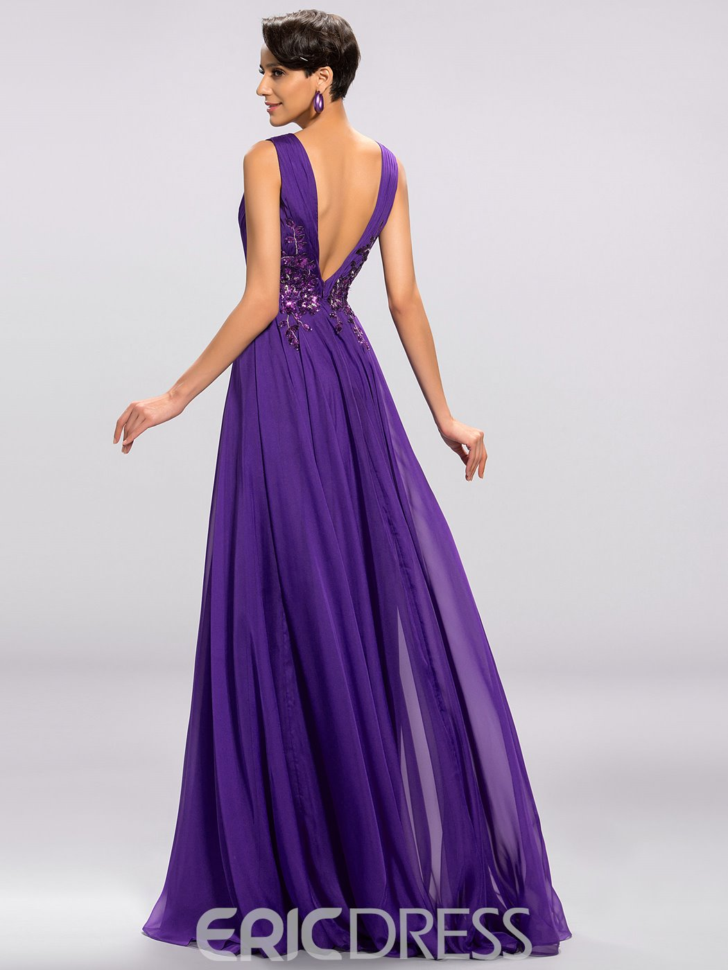 Delicate V-Neck Appliques Ruches A-Line Evening Dress