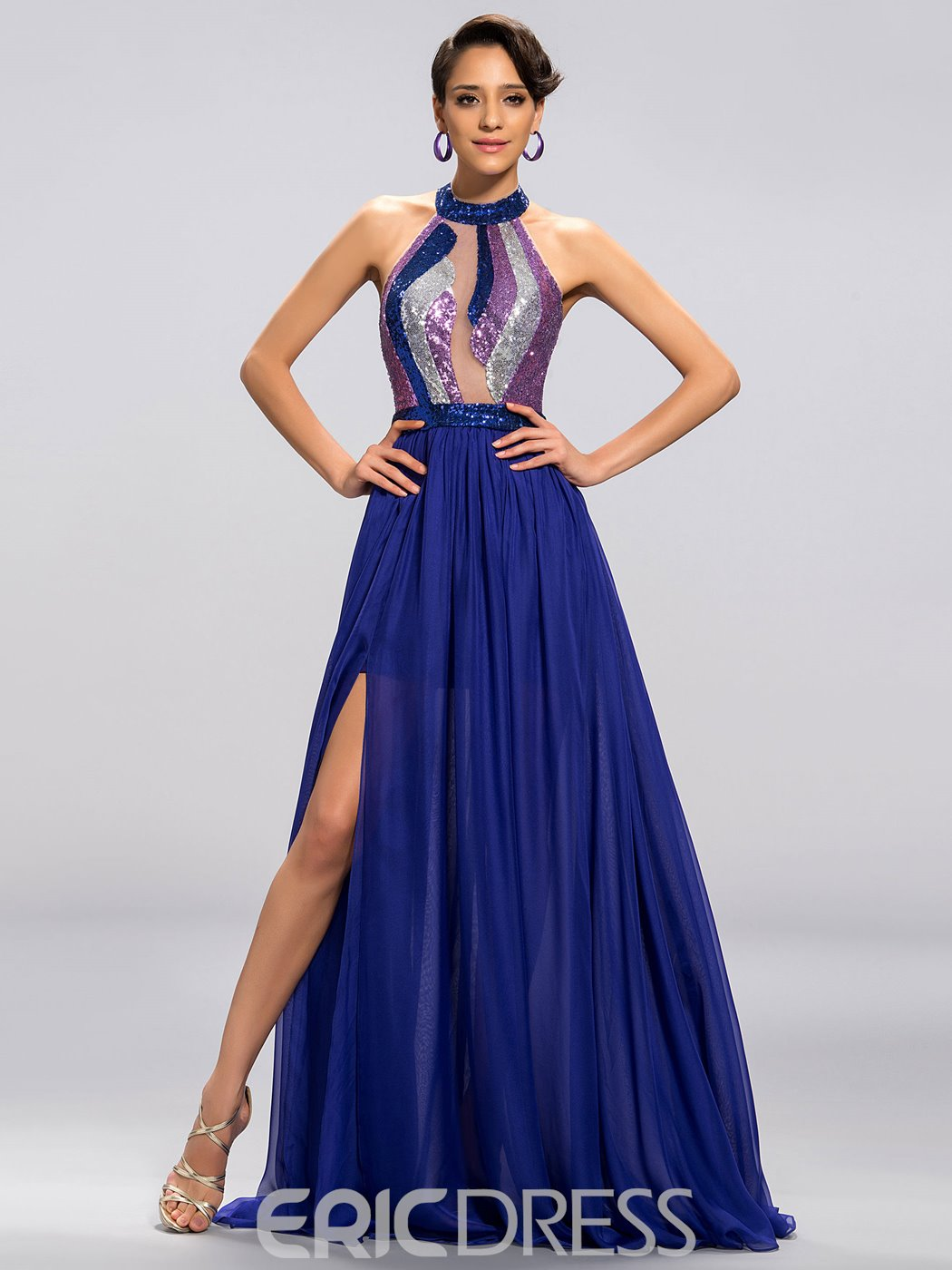 Sexy Shiny Halter Neck Split Front Prom Dress 11052972 Ericdress