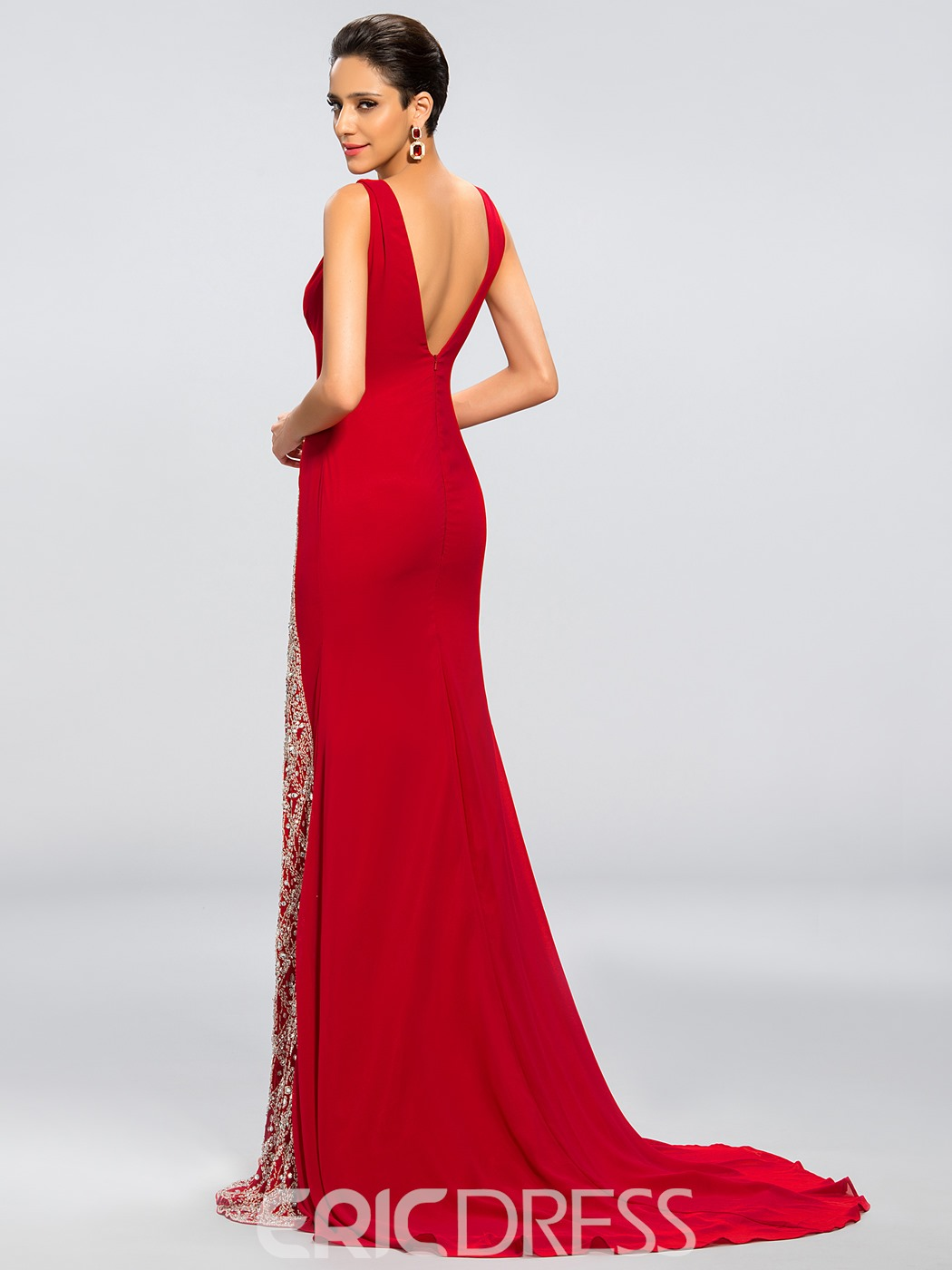Charming Sexy Beading V-Neck Column Split-Front Evening Dress