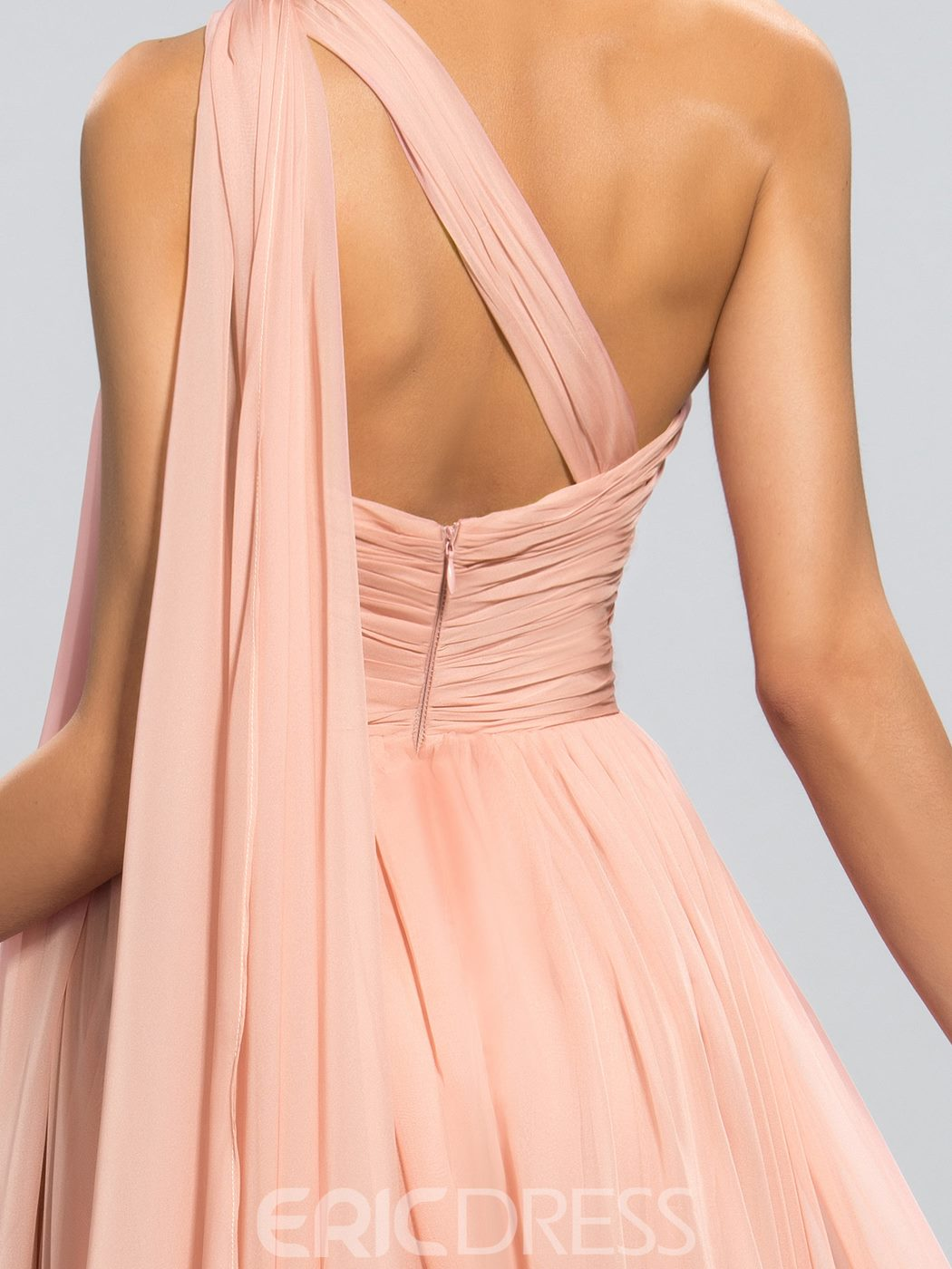 Classy A Line One-Shoulder Ruched Floor Length Evening Dress