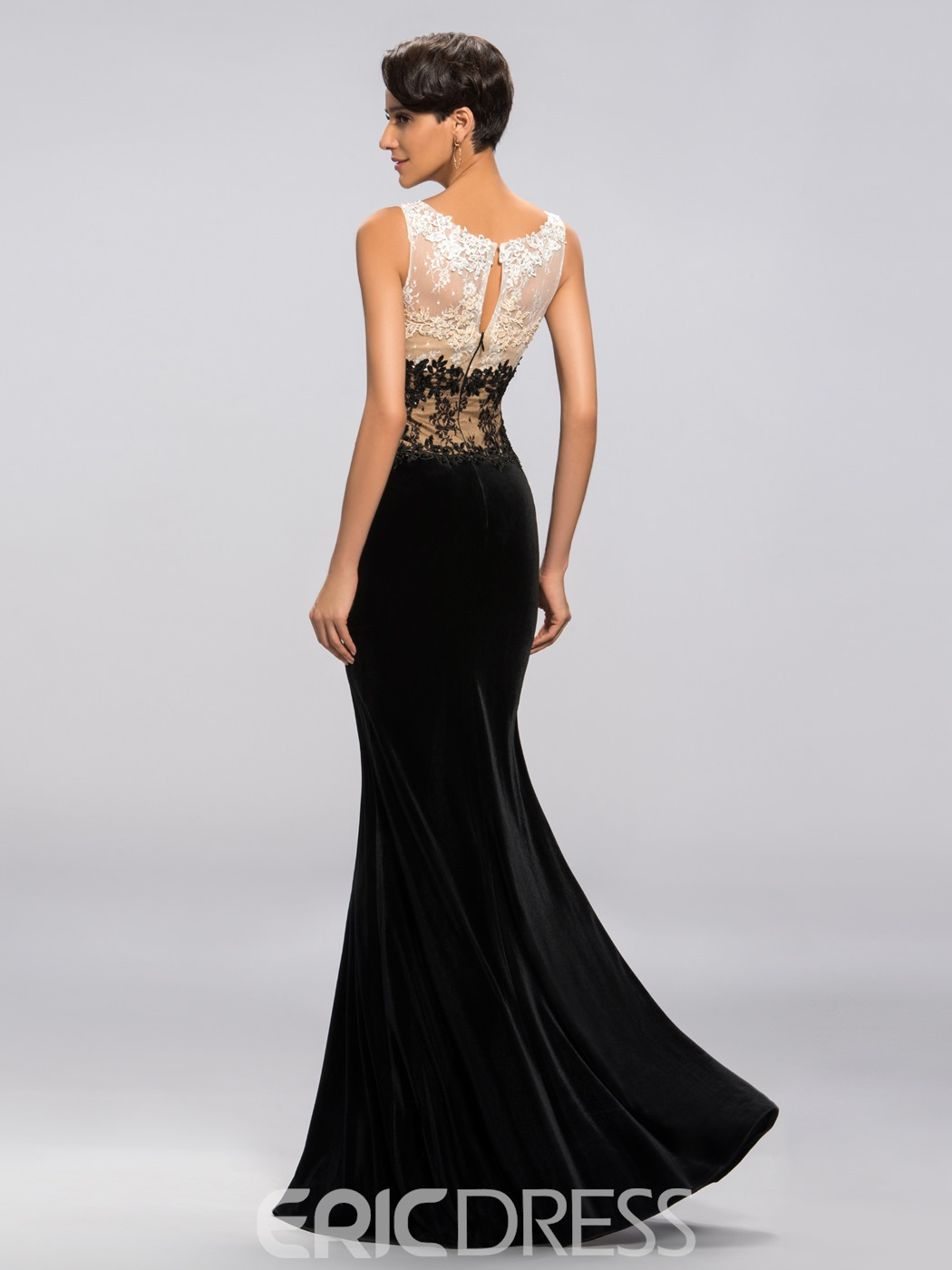 Sexy Scoop Neck Trumpet Appliques Zipper Up Prom Dress