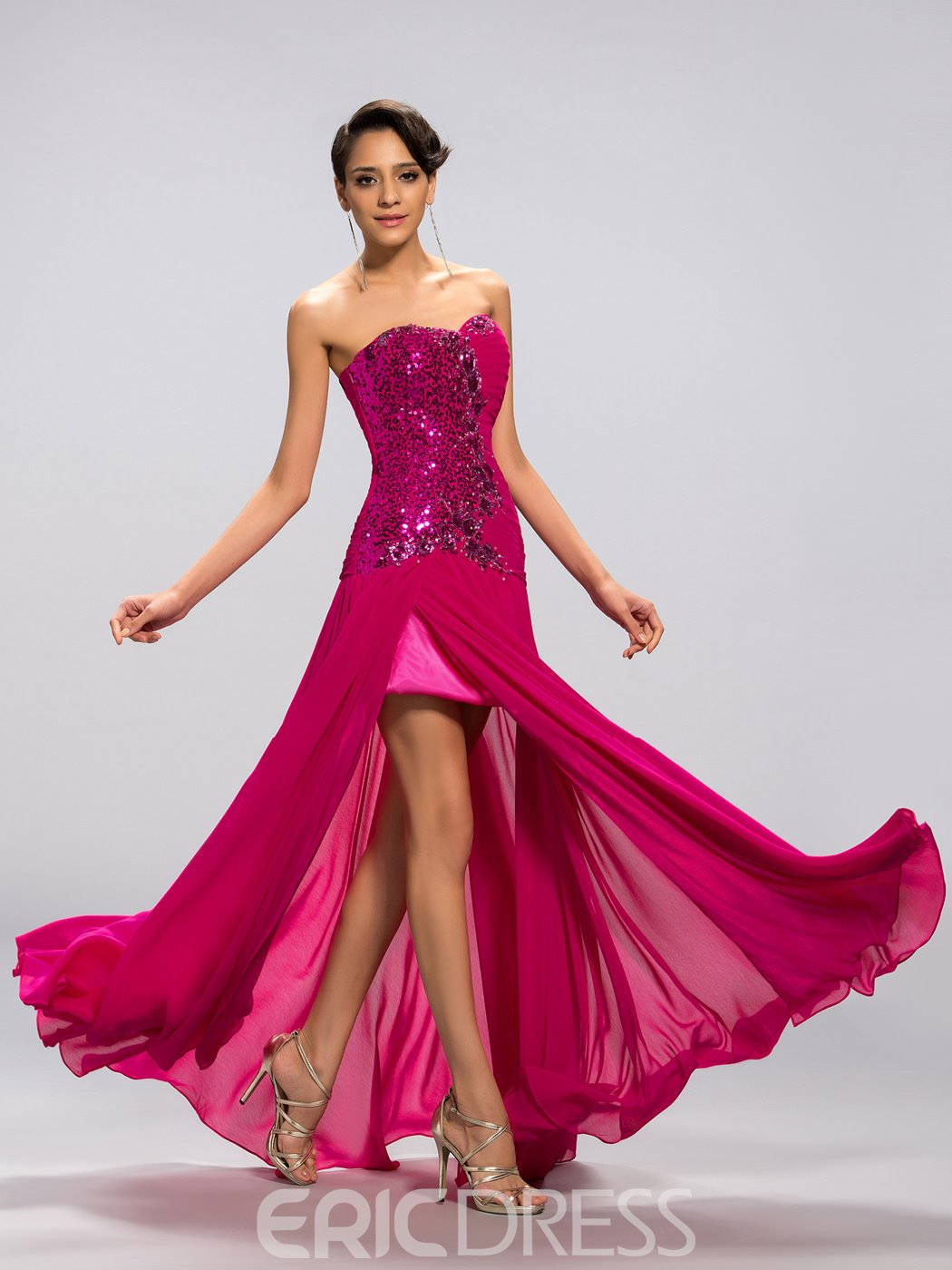 A-line Sweetheart Sequined Front Split Prom Dress