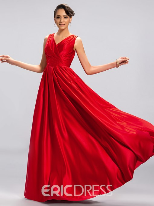 Concise Double V-Neck Ruffle Evening Dress