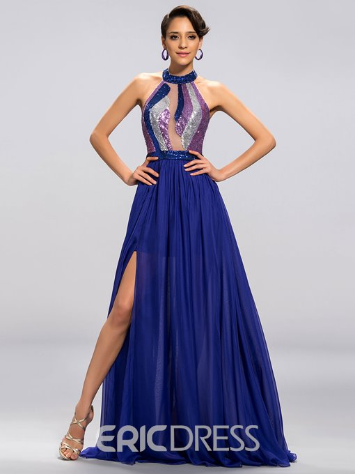 Sexy Shiny Halter-Neck Split-front Prom Dress