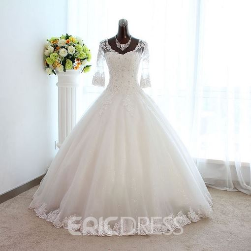 Ericdress Vintage Appliques Wedding Dress with Half Sleeves