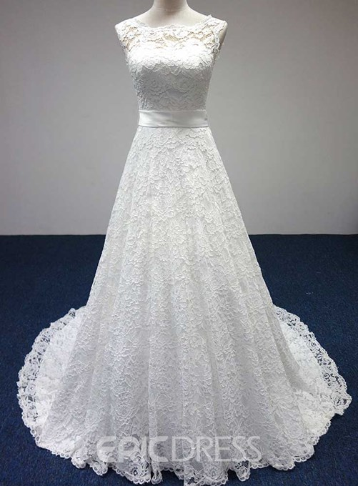 Ericdress Bowknot Lace-Up Lace Wedding Dress