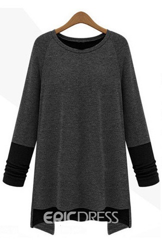 Contrast Color Long Sleeve Patchwork Round Neck T-Shirt