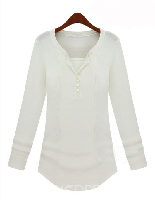 Solid Color V Neck Long Sleeves Base Shirt
