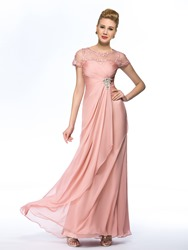 Image of Charming A-Line Empire Scoop Tulle Short Sleeves Long Mother of the Bride Dress
