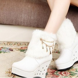 Ericdress Sweet PU Tassels Wedge Heel Ankle Boots
