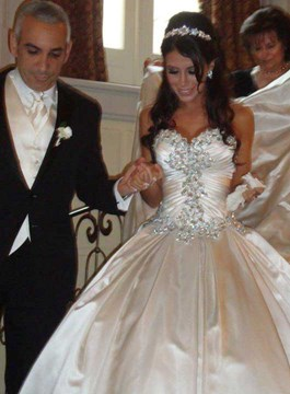 Sweetheart Rhinestone Cathedral Wedding Dress