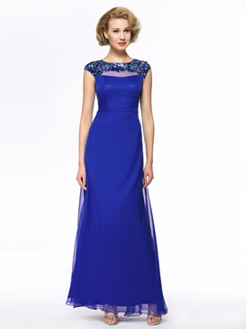 Vogue Classy Beading Column Floor Length Zipper-Up Mother Of The Bride Dress