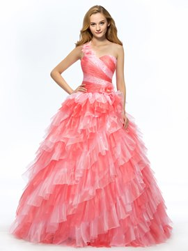 Delicate One Shoulder Sweetheart Neckline Quinceanera Dress