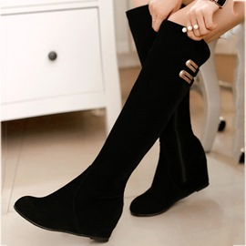 Brilliant Round Toe Elevator Heel Long Boots