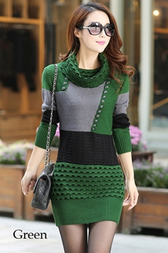 Ericdress Color Block Heap Collar Sweater Dress