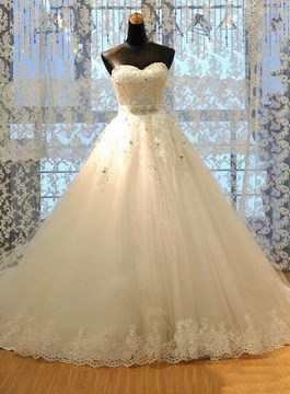 Classy Ball Gown Appliques Beading Court Wedding Dress