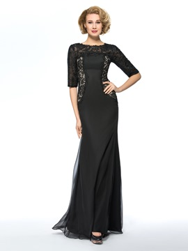 Classy Lace Half Sleeves Black Mother of the Bride Dress