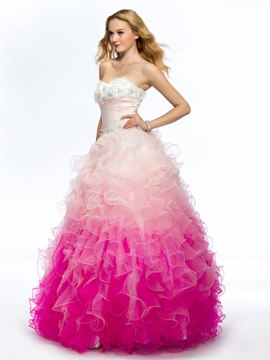 Pretty Sweetheart Strapless Beading Ruffles Flowers Long Quinceanera Dress