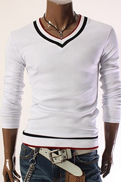 Ericdress V-Neck Patchwork Long Sleeves Men's T-Shirt