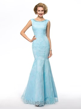 Scoop Neckline Beaded Sequins Floor Length Mother of the Bride Dress