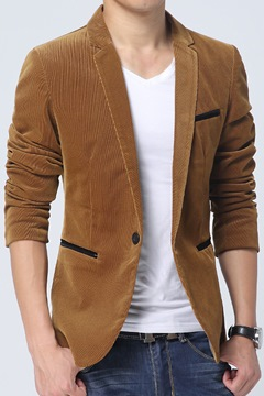 Business One Button Woolen Casual Men's Coat