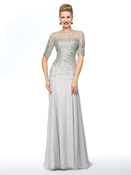Jewel Neck Half Sleeves Beaded Floor-Length Mother of the Bride Dress