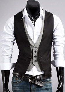 Ericdress V-Neck Patchwork Fit Men's Vest
