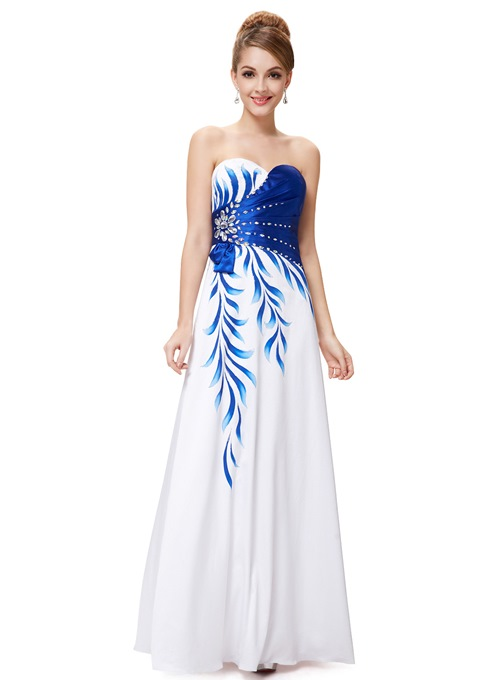 Vogueable A-Line Sweetheart Floral Print Prom Dress