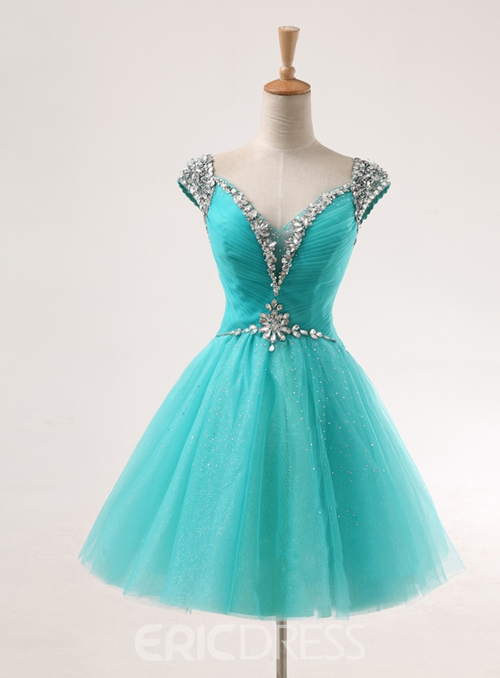 Stunning A-Line Cap Sleeves Beaded Homecoming/Sweetheart 16 Dress