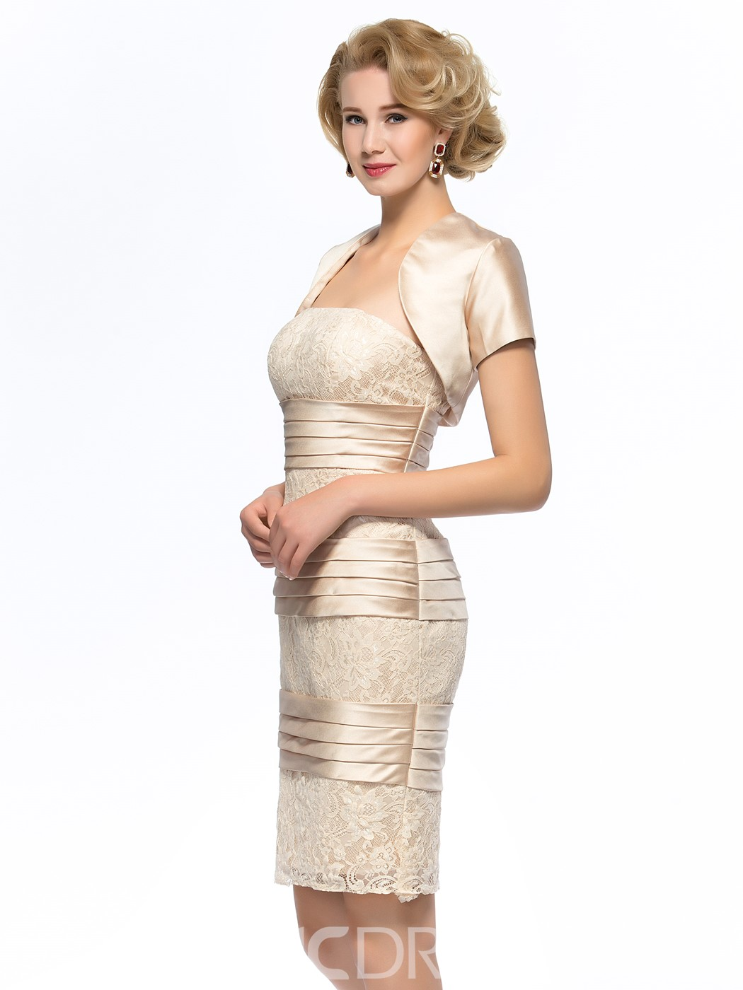 Ericdress Strapless Sheath Short Mother of the Bride Dress With Jacket