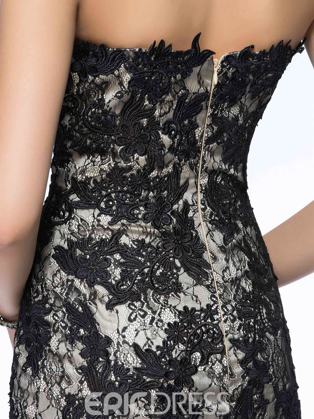 Classy Sweetheart Lace Appliques Sweep Train Long Mother of the Bride Dress