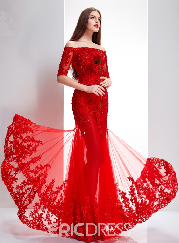 Ericdress Half Sleeves Lace Appliques Long Evening Dress With Jacket ...