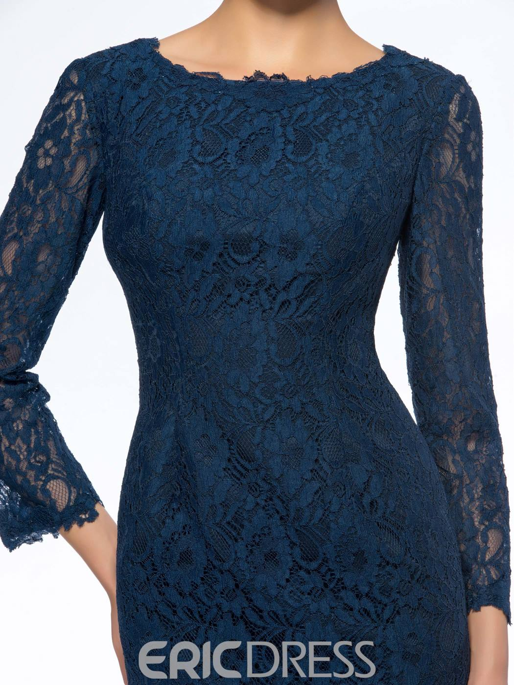 Classy Scoop Neck Lace 3/4 Sleeves Short Mother of the Bride Dress