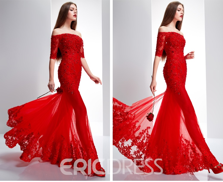 Ericdress Half Sleeves Lace Appliques Long Evening Dress With Jacket