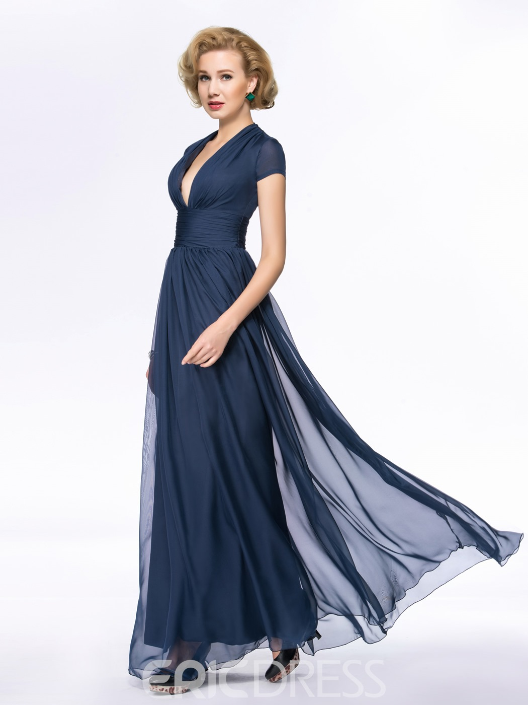 Classy V-Neck A-Line Floor Length Zipper-Up Mother Of the Bride Dress